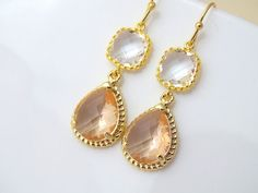 Peach Champagne Earrings  Will You be My by Crystalshadow on Etsy