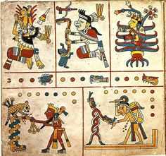 Codex Fejérváry-Mayer is a 15th or early 16th century Aztec (or Mixtec) manuscript on deer skin from Veracruz in central Mexico. Named for a Hungarian collector and British patron, this pre-Columbian accordion-style document outlines the cosmological and calendrical orientations of the Mayan people. As a typical calendar codex tonalamatl dealing with the sacred Aztec calendar -- the tonalpohualli -- it is grouped in the Codex Borgia group.