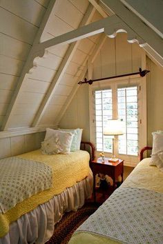 Shocking Attic storage stairs,Attic renovation ideas pictures and Attic bedroom design. Style Cottage, Cottage Living, Cozy Cottage, Country Cottage Bedroom, Cottage Bedrooms, Attic Renovation, Attic Remodel, Yellow Cottage, Attic Spaces