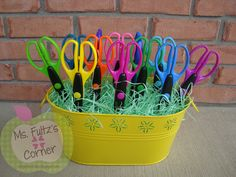 Bucket of scissors idea as a cute teacher gift for the beginning of the year!