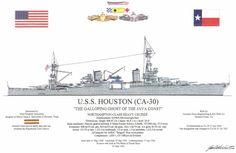 USS Houston CA-30 Drawing Naval History, Military History, Military Weapons, Military Aircraft, Uss Houston, Heavy Cruiser, Us Navy Ships, United States Navy, Submarines