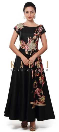 Buy Online from the link below. We ship worldwide (Free Shipping over US$100). Product SKU - 313585. Product Price - $419.00. Product link - http://www.kalkifashion.com/black-anarkali-suit-adorn-in-zari-and-lace-embroidery-only-on-kalki.html