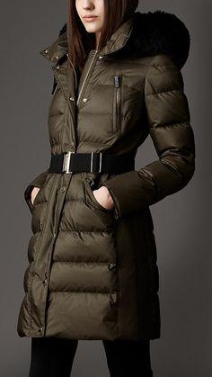 Dark olive Fur Trim Puffer Coat - Image 1