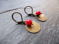 Boucles d'oreille rouge bronze (les délires de Lolotte)