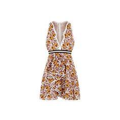 Giambattista Valli Crochet Ruffle Dress (14.445 BRL) ❤ liked on Polyvore featuring dresses, retro dresses, deep v neckline dress, frilly dresses, flounce dress and frilled dress