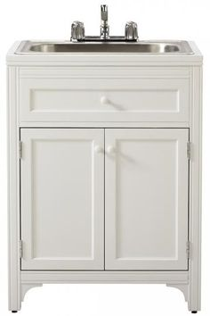 Martha Living 36 In H X 27 W 24 D Wood Laundry Storage Utility Sink Cabinet Picket Fence 1363300410 The Home Depot