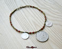 Women ethnic bead with old silver coins.