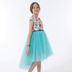 ROCHIE CU TRENA DIN TUL TURCOAZ Special Occasion, Girls Dresses, Skirts, Fashion, Tulle, Moda, Dresses Of Girls, Little Girl Dresses, Skirt