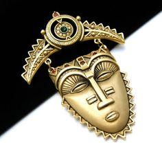Vintage Avon Rhinestone Face Mask Brooch #Avon