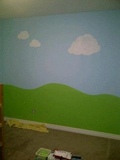 Super simple boys room mural. Then what if you do it with magnetic paint behind then you have trains and car magnets. I like!
