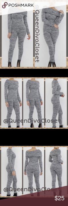 Heather gray off shoulder drop crotch jumpsuit Embrace the fall/ winter season in this cozy & comfy stretch knit sweater long sleeve romper. Features a fold over off shoulder design, medium light heather grey color, slight drop crotch/ harem. Marked size XL will fit up to a 7/8-9/10. New from factory. Pants Jumpsuits & Rompers