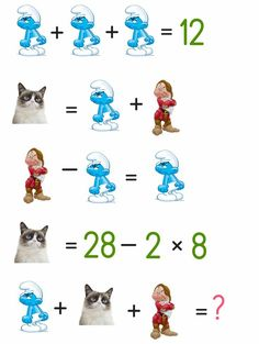 Can you solve the cartoon puzzle ? Puzzle ID - 1061 Brain Teasers Pictures, Brain Teasers Riddles, Logic Math, Logic Puzzles, Math For Kids, Puzzles For Kids, Math Games, Math Activities, Brain Teaser Questions