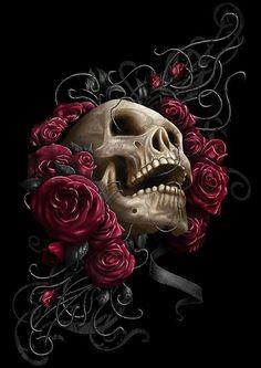 Skull roses drawing and tattoo ideas 문신, 해골, 문신 디자인 Aztecas Art, Art 3d, Skull Rose Tattoos, Totenkopf Tattoos, Skull Artwork, Skull Wallpaper, Skulls And Roses, Chicano Art, Tatoo Art