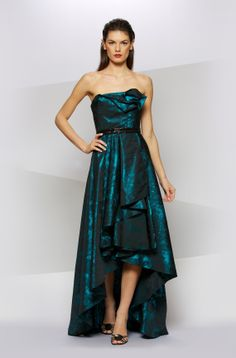STRAPLESS PRINT HIGH/LOW GOWN in TEAL - Carmen Marc Valvo