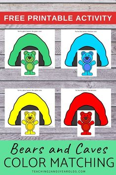 This bear color matching activity is a fun addition to your toddler and preschool hibernation theme. 18 Month Old Activities, Preschool Color Activities, Circle Time Activities, Animal Activities, Hands On Activities, Toddler Preschool, Learning Activities, Preschool Activities, Preschool Winter