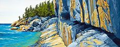 Shoreline of Lake Superior at Agawa Rock - Sculpture Art by Margarethe Vanderpas - Nature Art & Wildlife Art - Landscapes and waterscapes of Georgian Bay & Lake Superior - Vanderpas Art Lake Superior Map, Superior Pics, Lake Superior Agates, Superior Wisconsin, Landscape Quilts, Landscape Art, Landscape Paintings, Landscapes, Canadian Painters