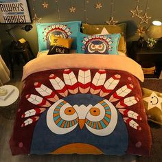 Best value Full Owl Bed – Great deals on Full Owl Bed from global Full Owl Bed sellers Bed Covers, Duvet Cover Sets, Owl Bedding, Warm Bed, Bird Design, Pet Store, Cartoon Styles, Fleece Fabric, Home Textile