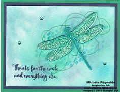Handmade card using Stampin' Up! products - Dragonfly Dreams Photopolymer Stamp Set, Stampin' Spritzer, Aqua Painters, Rhinestone Basic Jewels, Metallic Thread, Glitter Stampin' Emboss Powder, and Detailed Dragonfly Thinlits.  By Michele Reynolds, Inspiration Ink.