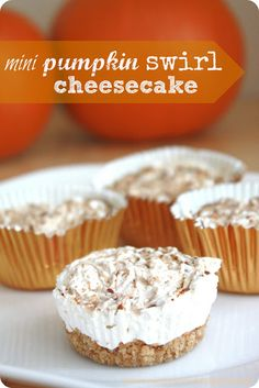 High Heels and Grills: Mini Pumpkin Swirled Cheesecake. Only 106 calories each and 3 WW points! Ww Desserts, Delicious Desserts, Dessert Recipes, Yummy Food, Pumpkin Recipes, Fall Recipes, Quick Recipes, Potato Recipes, Holiday Recipes