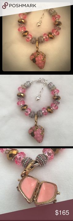 Kristi Styler Juicy Charmed Murano Bling Bracelet This bracelet is costume jewelry........it was made and inspired with pandora, Juicy and Bella Perlina in mind.   This bracelet is of European styling with murano beads, rhinestone like beads with a Authentic Juicy Couture Charm on a silver plated bracelet chain.  I style these bracelets myself......this is one of many I will start to list in the coming days.  What ever size bracelet chain you need i have 19cm, 20cm, etc..... Jewelry…