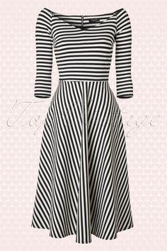 Vintage chic  Striped Longsleeve Dress 102 14 16478 20150828 0005W