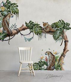 Removable wallpaper - Tropical Cheetahs Mural Wallpaper - Floral Wallpaper - Watercolor Wallpaper - Temporary Wallpaper - Wall Mural Tropical cheetah wallpaper full of colors, perfect to bring joy to any interior. Cheetah Wallpaper, Wallpaper Wall, Watercolor Wallpaper, Wallpaper Designs, Flower Wallpaper, Nature Wallpaper, Tapete Floral, Vintage Wallpaper, Paintings