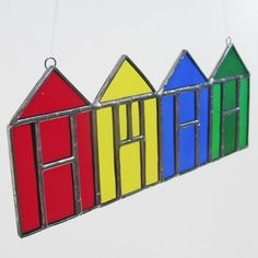 Beach Huts Stained Glass Suncatcher Home Decor by FiveSparrows