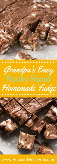 Loaded with marshmallows and chopped walnuts, this chocolaty, easy homemade Rocky Road Fudge takes less than 10 minutes and always gets rave reviews!