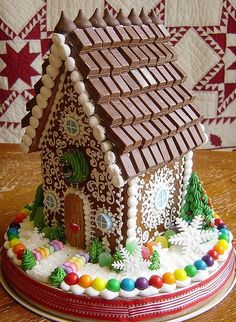 This is a really nice ginger bread house. I like the frosting decor, and this is a nice roof.