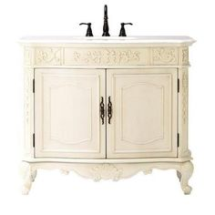 Home Decorators Collection Winslow 43 in. Vanity in Antique White with Marble Vanity Top in White-1591000410 at The Home Depot