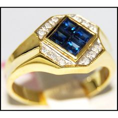 http://rubies.work/0021-price-from/ Gemstone Diamond Unique Blue Sapphire Ring 18K Yellow by BKGjewels