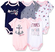 59a9cf9ab2be Nautica Baby Girls 5 Pack Bodysuit