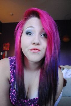 Pink and purple ombre dyed hair