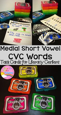 Medial Short Vowel CVC Words-Real Photo Task Cards for Literacy Centers  Do you have students in your classroom that struggle with medial vowel sounds? This engaging task card center will help those struggling learners master their medial short vowel sounds and is perfect for any ESL/ELL classroom!