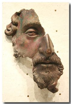 Fragment of a bronze portrait of Marcus Aurelius, probably belonging to a bust or full-length statue, after 170 AD, Louvre Museum Ancient Greek Sculpture, Greek Statues, Ancient Art, Portrait Sculpture, Art Sculpture, Sculptures, Roman Sculpture, Bronze Sculpture, Renaissance Kunst