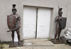 Pair XL Bronze Roman Gladiator Statues Soldier Architectural Antiques Roman Gladiators, Statues, Northern Island, Bronze, Architectural Antiques, Rest Of The World, Cherub, French Antiques, It Cast