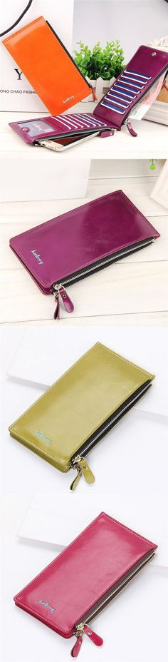 【2/US$15.88】 Universal Ultrathin PU Leather Vertic Long Wallet Purse_ 15 Card Slots Multi-Slots Phone Bags