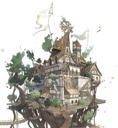 Tree house, sehee park on ArtStation at https://www.artstation.com/artwork/853PQ