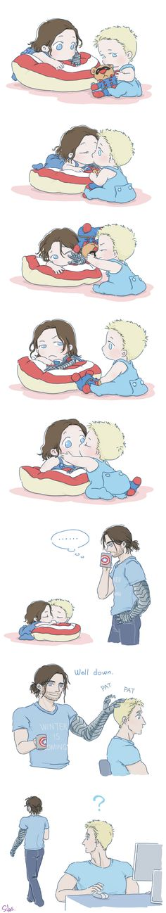 Steve and Bucky babies: Baby kiss by SilasSamle on DeviantArt