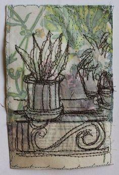 Secret Garden Cactus Pots £50 casholmestextiles Sewing Machine Embroidery, Free Motion Embroidery, Cas Holmes, Small Art, Textiles, Textile Artists, Hand Quilting, Fabric Art, Fiber Art