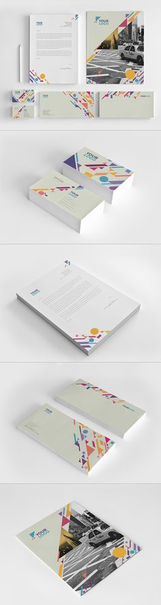 Colorful Shapes Stationery. Download here: http://graphicriver.net/item/colorful-shapes-stationery/9797975?ref=abradesign #stationery #design