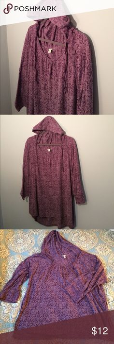 Sonoma Purple 3/4 Sleeve Hooded Top Light Knit 3X Lightly worn, Sonoma Purple 3/4 Sleeve Light Knit Hooded Top in size 3X. Sonoma Tops