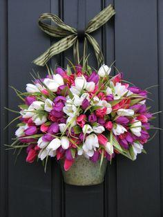 Spring Tulips  Farmhouse Tulips  Front Door Decor by twoinspireyou, $80.00