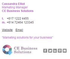 A lovely email signature example using purple and dark grey to match their business branding. This one uses our Formal Email Signature Template Style 2. http://emailsignaturerescue.com/formal-email-signature-template