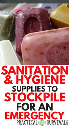List of Sanitation and Hygiene supplies to make sure to stockpile for your survival and emergency preparedness kit. Super important to have these hygiene items after a disaster. Survival Supplies, Emergency Supplies, Survival Food, Outdoor Survival, Survival Prepping, Survival Skills, Survival Quotes, Survival Hacks, Survival Equipment