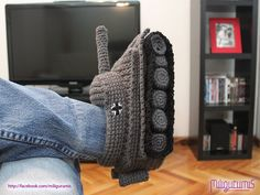 Panzer Tank Slippers… in Crochet?