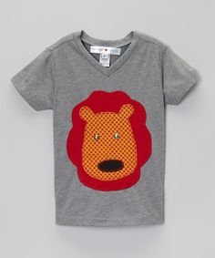 Gray & Orange Lion V-Neck Tee - Infant, Toddler & Boys #zulily #zulilyfinds