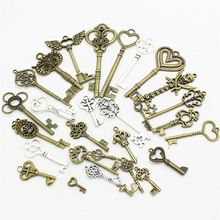 20-45 pattern Mixed 30pcs Assorted key Charms Pendants key Metal Alloy Pendant Plated two color DIY Jewelry making D0952(China (Mainland))