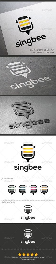 Singbee  #GraphicRiver Singbee, this bee logo is a clean, professional and simple logo created for your business or company.