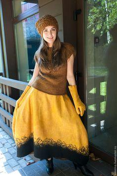 """Купить Юбка валяная """"НЕМНОГО ШАФРАНА"""" - желтый, абстрактный, юбка длинная, валяная юбка"""